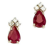 14K Genuine Ruby and Six Round Diamond 1.52ctw Yellow Gold Earrings