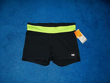 BLACK & LIME CHAMPION VOLLEYBALL TENNIS YOGA SHORTS PANTS SIZE 12 - 14 LARGE NWT