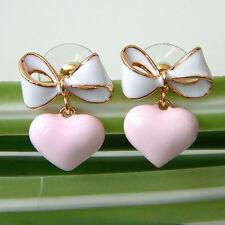 18K GP White-Pink Enamel  Hollow Heart Love Ear Stud Earrings E2392