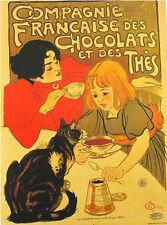 AFFICHE  POSTER CARTONNE CHAT CAT GATTO GATO COMPAGNIE CHOCOLATS THES STEINLEN 1