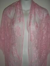 LACE SHAWL PINK FLORAL PASHMINA SCARF 70 X 30 WOMANS CLOTHING ACCESSORY PFSS80