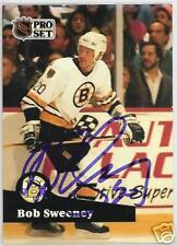BOB SWEENEY BOSTON BRUINS 1992 PRO SET  AUTOGRAPHED HOCKEY CARD JSA