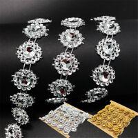 2 Yd DIY Rhinestone Trim Crystal Chain Beaded Applique Sew/Iron on Bridal Dress