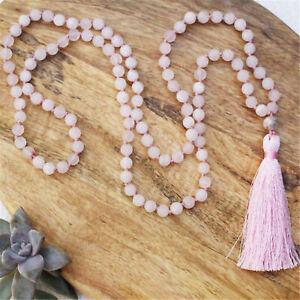 Natural Rose Quartz 108 Beads Handmade Tassel Necklace Blessing Spirituality