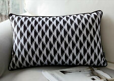 "Black & White Geometric Throw Pillow Case Decorative Cushion Cover Sham 20""x12"""