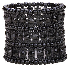 Stretch cuff bracelet fashion jewelry gifts for women mom gold silver black B11