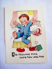 Precious Mabel Lucie Attwell Postcard w/ Little Boy Getting Up in the Morning *