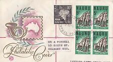 Stamps Nauru 5d ANZAC block 4 uprated WCS Wesley generic cachet FDC registered