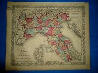 Antique 1857 Colton Atlas Map ~ NORTHERN ITALY ~ Old & Original ~ Free S&H