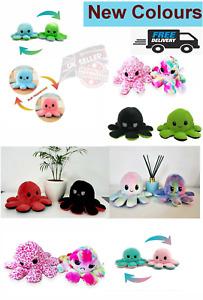 Octopus  Double Sided Flip Reversible Cute Plush Toys fun unicorn Doll Gift UK