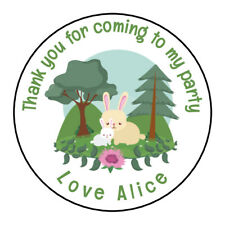 Personalised Woodland Birthday Rabbit Party Stickers Thank you Sweet Cones Gift