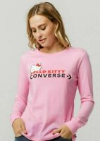 Converse X Hello Kitty Collection Premium Long Sleeve Shirt Pink New nwt