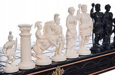 Schach edles Schachspiel Schachbrett Handarbeit ANTIKES ROM Weiss Schwarz 42x42