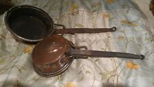old decorative metal copper tinted pans