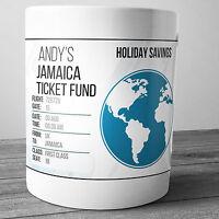 JAMAICA PERSONALISED HOLIDAY SAVINGS MONEY BOX TRAVEL FUND