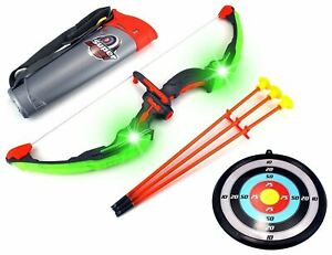 Kids Play Bow & Arrow Archery Toy Set & Target Light Up outdoor Garden Fun Games