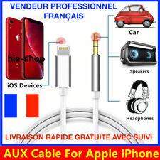 Câble Audio Auxiliaire Voiture Aux Jack 3.5mm Prise Casque iPhone 5/6/7/8/X/XR .
