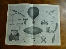 1874 Incisione AERONAUTICA AEREI MACCHINE MONGOLFIERE meccanismi di volo