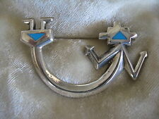 VINTAGE SOUTHWESTERN INDIAN SANDCAST SILVER & TURQUOISE YEI FIGURE BROOCH
