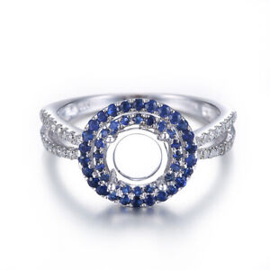 SOLID 18K WHITE GOLD SEMI MOUNT ROUND 6.5MM REAL DIAMONDS SAPPHIRES RING SETTING
