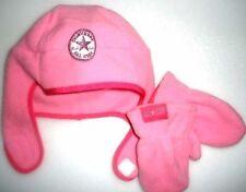 BNWT CONVERSE HAT Baby Fleece Trapper Hat + Mittens Set 1-3y Toddler Winter