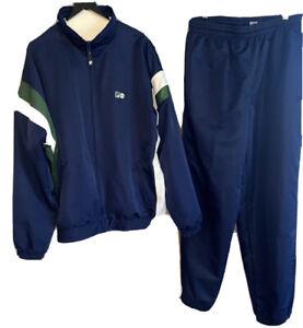 New VTG Fila Track Suit Jacket Pants Blue White  Green Men's Sz M