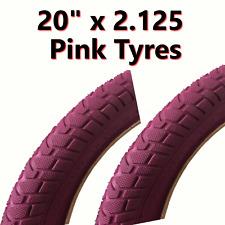 2x Pink Tyre 20 x 2.125 (54-406) Girls Bike Bicycle BMX