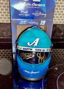 Martin Truex Jr  Sherry  Pollex Dual SIGNED Autograph Mini Helmet Sherry Strong