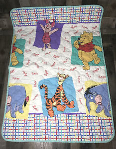 1997 Disney Winnie Pooh Baby Toddler Blanket Quilt Eeyore Tigger Piglet Vintage