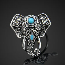 Charming Women Retro Bohemia Natural Turquoise Elephant Finger Rings Jewelry Hot