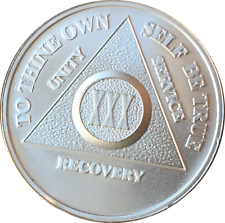 30 Year .999 Fine Silver AA Alcoholics Anonymous Medallion Chip Coin XXX