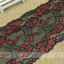 2 Yards Black Red Elastic Vintage Fabric Crochet Lace Trim Ribbon Sewing Craft