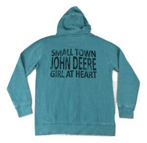 John Deere Womens Small Town Girl At Heart Hoodie New S, M