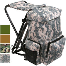 Travel Backpack with Stool Combo Camping Bag Hiking Pack Camo Knapsack Chair