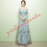 Ladies Full Length Floral Embroidery Long Evening Dress Formal Prom Gown Dress