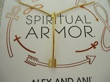 """Kt Gold Plate New W/Tag Card & Box Alex and Ani Arrow Adjustable Necklace 21"""" 14"""