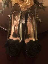 "New Gorgeous CARLOS SANTANA PEEP TOE PUMPS ""CUPCAKE"" BLACK PATENT S.8; $10.99"