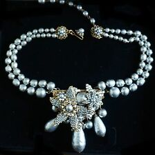 MIRIAM HASKELL 2-Strand Platinum Baroque Pearl Necklace