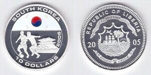 LIBERIA COLORED SILVERCLAD 10$ PROOF COIN 2005 YEAR KOREA FIFA WORLD CUP 2006