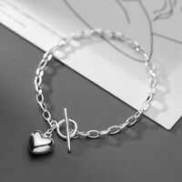 Woman REAL S925 Sterling Silver Heart Charm Rolo Link Chain Bracelet Bangle