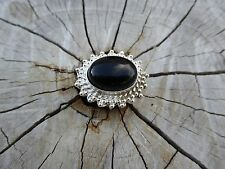 Empowering Crystals Big Ring Silver Plated Size 7.75 Black Onyx Boho Indie