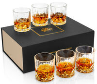 Crystal Whiskey Glass 10 Oz Old Fashioned Scotch Bourbon Tumbler Cups Set of 6