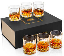 KANARS Crystal Whiskey Glass Scotch Bourbon Drinking Glasses Tumbler Set of 6