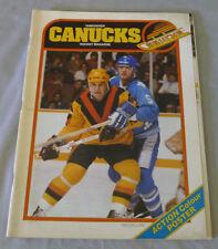 NHL October 12th.1980 Vancouver Canucks vs Quebec Nordiques Hockey Program