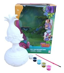 POPPY TROLLS Dreamworks Paint Your Own Money Bank Box Kit 27 cm Tall Boxed
