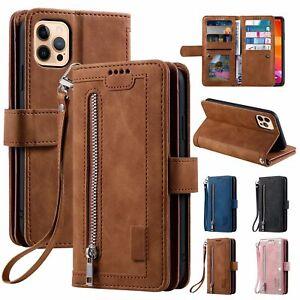Zipper Leather Wallet Case For iPhone 12 11 Pro Max XS XR 678 Plus SE Flip Cover
