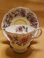 Royal Albert Yellow and Floral Jacobean Tea Cup and Saucer Set England