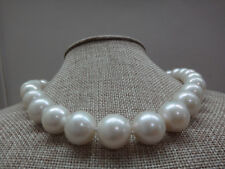 """HUGE 18""""12-16MM NATURAL SOUTH SEA GENUINE WHITE NUCLEAR PEARL NECKLACE 688AAA"""
