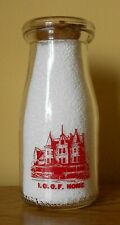 I.O.O.F HOME DAIRY 1/2 PINT RED PYRO MILK BOTTLE IN GREENSBURG INDIANA IND IN