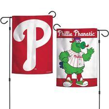 """PHILADELPHIA PHILLIES PHILLIE PHANATIC MASCOT 12""""X18"""" 2-SIDED GARDEN FLAG NEW"""